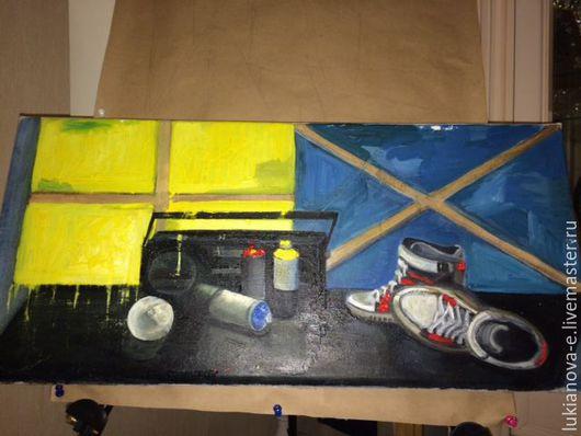 Натюрморт ручной работы. Ярмарка Мастеров - ручная работа. Купить Юность. Handmade. Желтый, синий, кеды, краски, холст на подрамнике