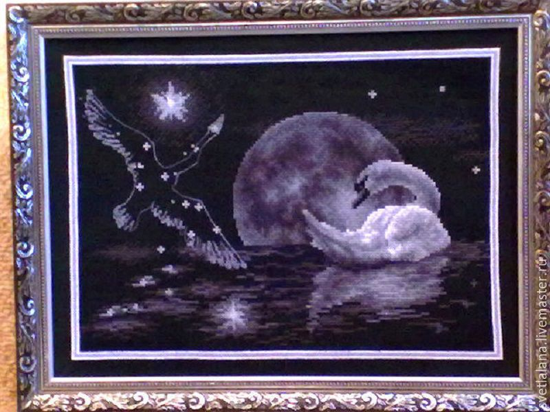 Animal Painting handmade. Livemaster - handmade. Buy The lunar Swan embroidery, ready.Gift, cross stitch, picture