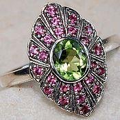Кольцо серебро с рубинами Орхидея