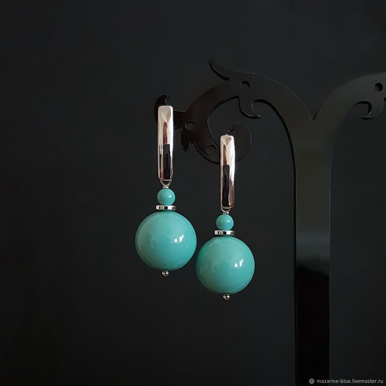 'Tiffany' earrings with Swarovski pearl, Earrings, Krasnodar,  Фото №1