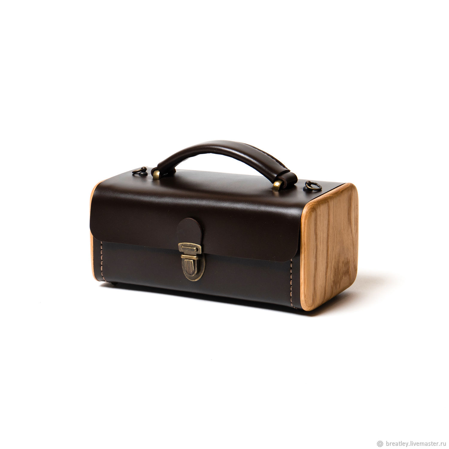 Brown ladies ' STEP handbag with wood in vintage style, Classic Bag, Moscow,  Фото №1