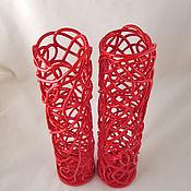 Для дома и интерьера handmade. Livemaster - original item Red openwork vase h40cm. Handmade.