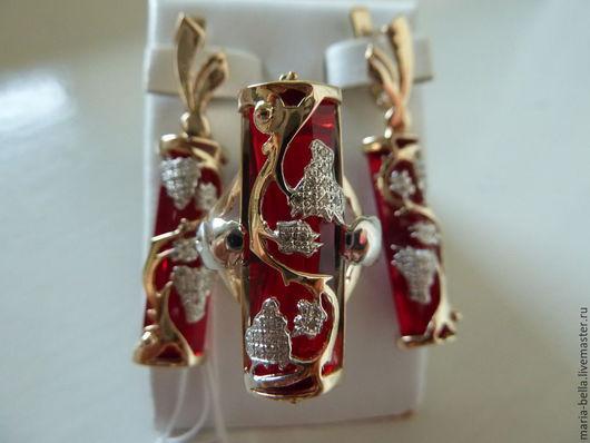 Комплекты украшений ручной работы. Ярмарка Мастеров - ручная работа. Купить Гроздья лета. Золотые серьги и кольцо с рубином и бриллиантами. Handmade.