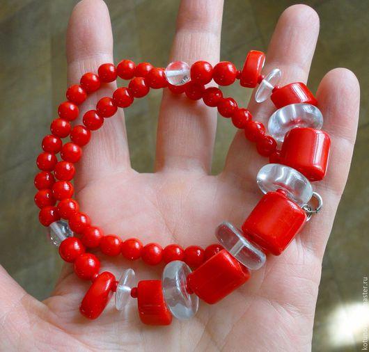 Винтажные украшения. Ярмарка Мастеров - ручная работа. Купить 1960-е Ретро ожерелье Глушеное красное стекло 45см. Яблонец. Handmade.