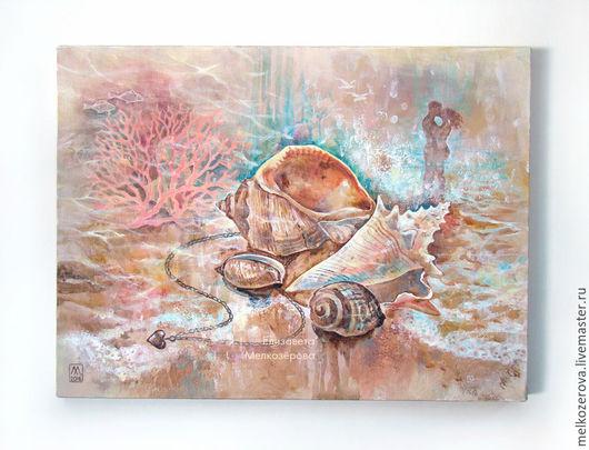 """Фантазийные сюжеты ручной работы. Ярмарка Мастеров - ручная работа. Купить Картина """"Вода и воздух"""" море ракушки любовь поцелуй. Handmade."""