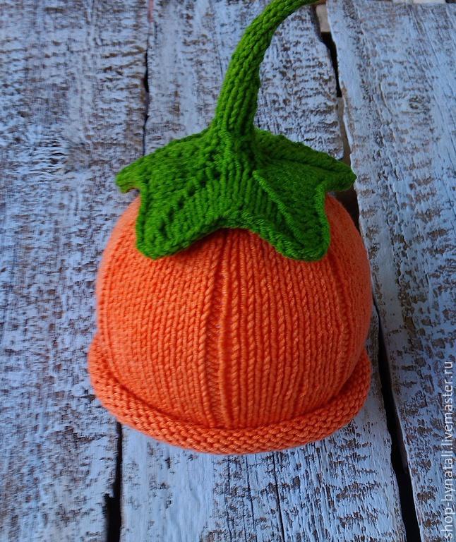Вязание шапки спицами тыковка