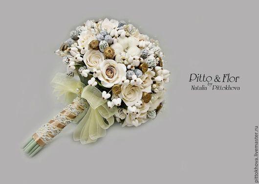 """Свадебные цветы ручной работы. Ярмарка Мастеров - ручная работа. Купить Свадебный букет невесты """"Зимняя сказка"""". Handmade. Кремовый"""
