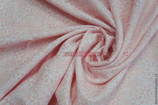 Шитье ручной работы. Ярмарка Мастеров - ручная работа. Купить Ткань плат. хлопок с вышивкой 642/3, 150 см, персик. Handmade.
