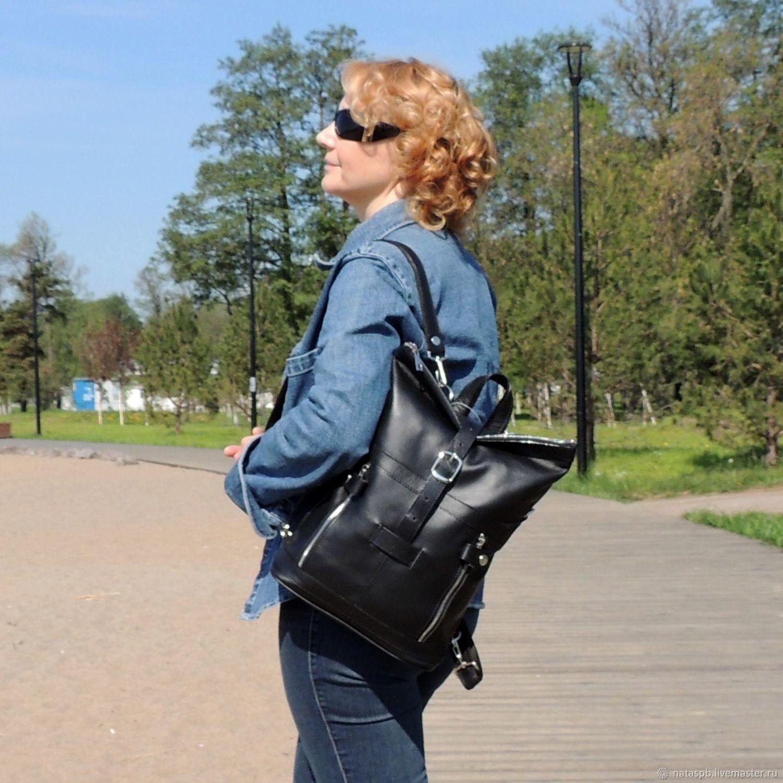Сумка-рюкзак женская кожаная черная Делия Мод СР31-711, Рюкзаки, Санкт-Петербург, Фото №1
