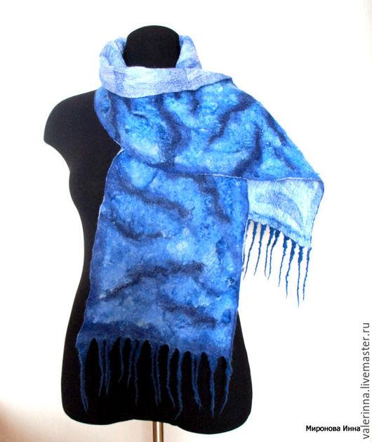 Шарфы и шарфики ручной работы. Ярмарка Мастеров - ручная работа. Купить Синий мрамор Шарф войлочный кудрявый. Handmade.