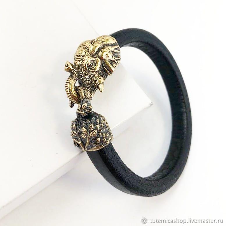 Bronze Elephant Bracelet /  Skin, Regaliz bracelet, Moscow,  Фото №1