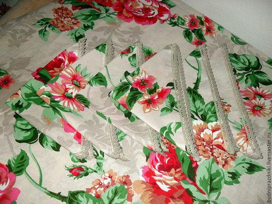 Текстиль, ковры ручной работы. Ярмарка Мастеров - ручная работа. Купить Скатерть обеденная Розы и 6 салфеток. Handmade. Комбинированный