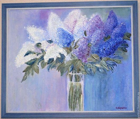 Картины цветов ручной работы. Ярмарка Мастеров - ручная работа. Купить Сирень в вазе. Handmade. Синий, картина с цветами, мастихин