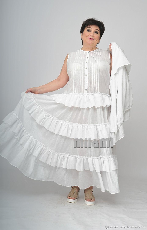 Longline dress, white Batiste. Art. 4499, Dresses, Kirov,  Фото №1