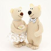 Подарки ручной работы. Ярмарка Мастеров - ручная работа Медведи свадебные игрушки мишки подарок на свадьбу, бежевый. Handmade.