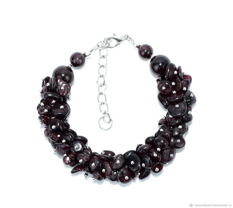 Handmade. Bracelet of natural garnet, Bead bracelet, Moscow,  Фото №1