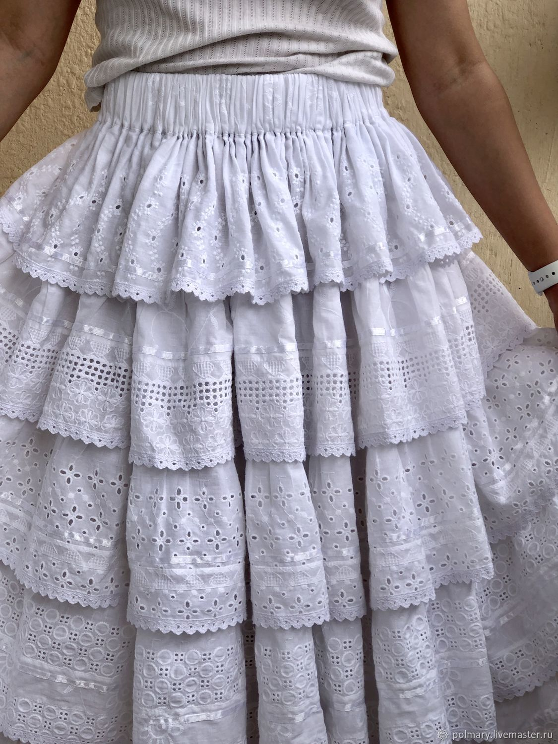 55f54bb7d Skirts handmade. Order Skirt summer lush boho style of white sewing and  lace.