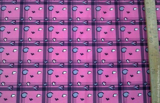 Ткань курточная 240T PONGEE WR PU MILKY. Рисунок `Розовая клетка`