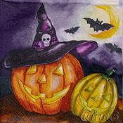 Материалы для творчества handmade. Livemaster - original item Napkins for decoupage Halloween pumpkin night print. Handmade.
