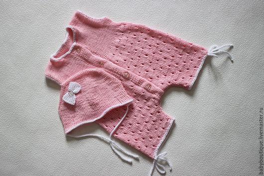 Для новорожденных, ручной работы. Ярмарка Мастеров - ручная работа. Купить Чепчик и песочник для новорожденной малышки спицами.. Handmade.