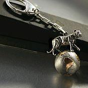 Автомобильные сувениры ручной работы. Ярмарка Мастеров - ручная работа Брелок для ключей. Тигр на земном шаре. Серебро 925 Позолота 24 К. Handmade.