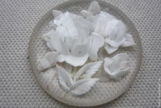 Для украшений ручной работы. Ярмарка Мастеров - ручная работа. Купить Кабошон, роза, 30-е годы.. Handmade. Белый