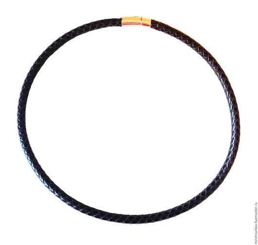 Колье, бусы ручной работы. Ярмарка Мастеров - ручная работа. Купить Шнурок черный  из плетеной натуральной кожи 8,0мм. Handmade.
