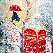 """Картины и панно ручной работы. Ярмарка Мастеров - ручная работа Картина """"Первый снег"""", бесплатная доставка. Handmade."""