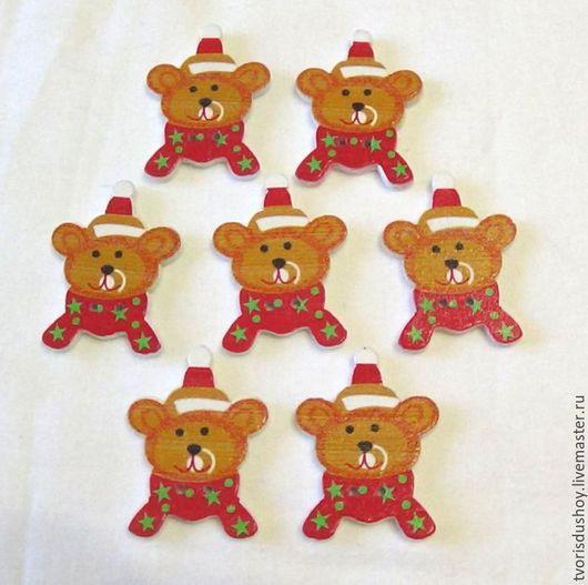 Другие виды рукоделия ручной работы. Ярмарка Мастеров - ручная работа. Купить Пуговицы деревянные Мишки новогодние (7). Handmade.