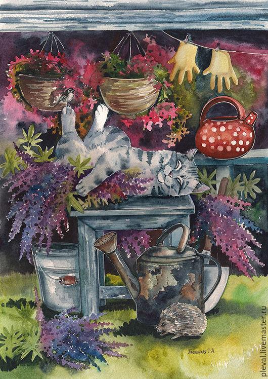 Животные ручной работы. Ярмарка Мастеров - ручная работа. Купить Картина акварелью с котом и люпинами - Люпиновый сон кота. Handmade.