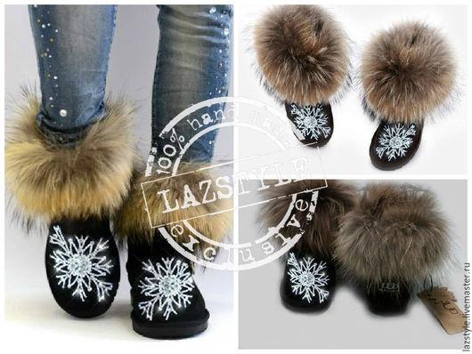 """Обувь ручной работы. Ярмарка Мастеров - ручная работа. Купить Эксклюзивные Ugg's """"Snowflake"""". Handmade. Черный, угги вышиты камнями"""