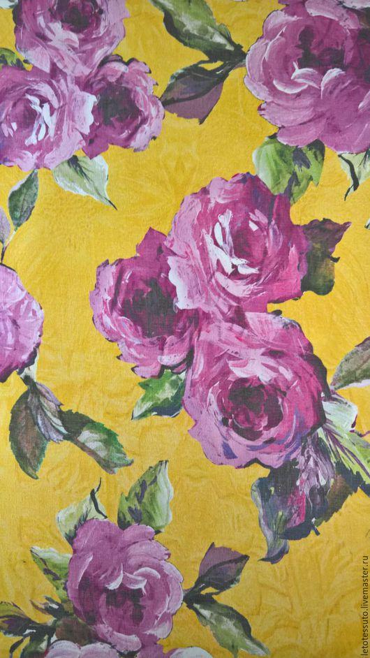 Шитье ручной работы. Ярмарка Мастеров - ручная работа. Купить Шифон D&G Розы на желтом фоне. Handmade. Желтый, юбка