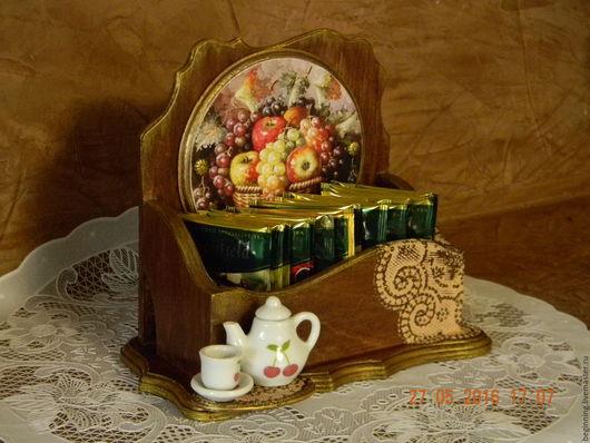 Кухня ручной работы. Ярмарка Мастеров - ручная работа. Купить Короб для чайных пакетиков ПРИЯТНОГО ЧАЕПИТИЯ!. Handmade. Чайный домик