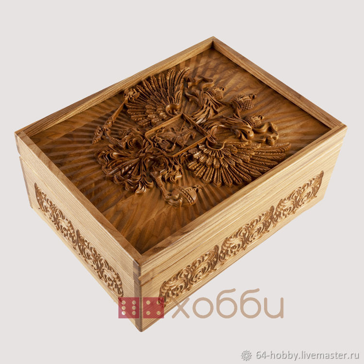 Russian lotto in a box made of black ash 'Coat of Arms of Russia', Table games, St. Petersburg,  Фото №1