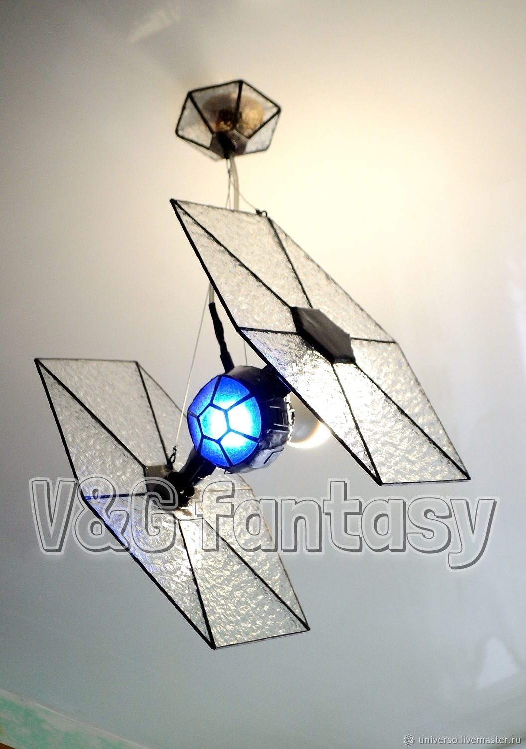 "Lamps handmade. Livemaster - handmade. Buy Stained glass pendant light ""TIE/fo space.Light pendant"