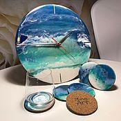 Часы классические ручной работы. Ярмарка Мастеров - ручная работа Набор часы + 6 подстаканников «Море». Handmade.