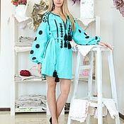 Одежда ручной работы. Ярмарка Мастеров - ручная работа Платье короткое, с вышивкой бирюзовое. Handmade.