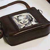 handmade. Livemaster - original item Merlin. Leather bag with beaded portrait. Handmade.