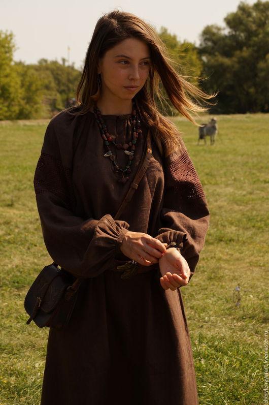 Этническая одежда ручной работы. Ярмарка Мастеров - ручная работа. Купить Рубаха женская льняная с филейным кружевом коричневая. Handmade.