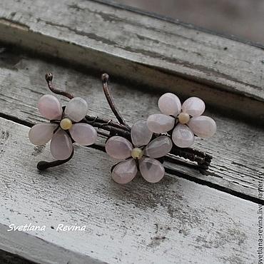 """Украшения ручной работы. Ярмарка Мастеров - ручная работа медная  брошь """"Цветущий Абрикос"""" с розовым кварцем. Handmade."""