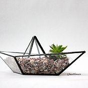 Цветы и флористика handmade. Livemaster - original item The Floriana. Geometric Floriana Boat. Glass. Handmade.