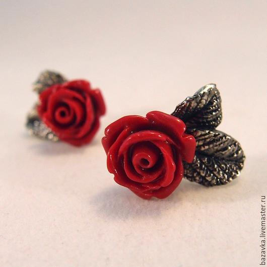 """Серьги ручной работы. Ярмарка Мастеров - ручная работа. Купить Серебряные серьги """"Красные розы"""". Handmade. Ярко-красный, розочки"""