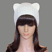 Аксессуары handmade. Livemaster - original item Hat with ears Cat ladies knitted elastic band. Realistic ears. Handmade.