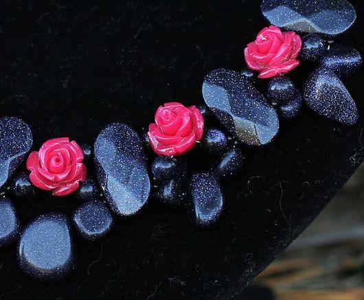 Комплекты украшений ручной работы. Ярмарка Мастеров - ручная работа. Купить Синий авантюрин и розы (комплект).. Handmade. Тёмно-синий