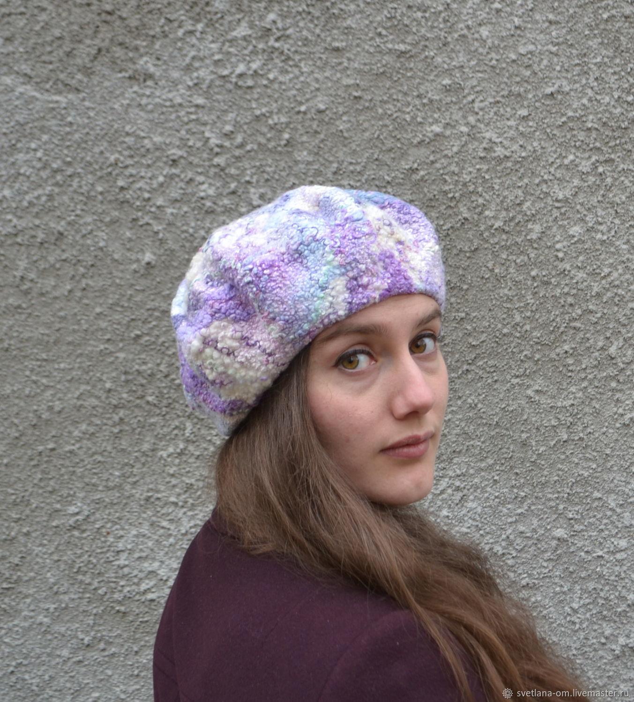 Валяный берет Фиолетово-белый