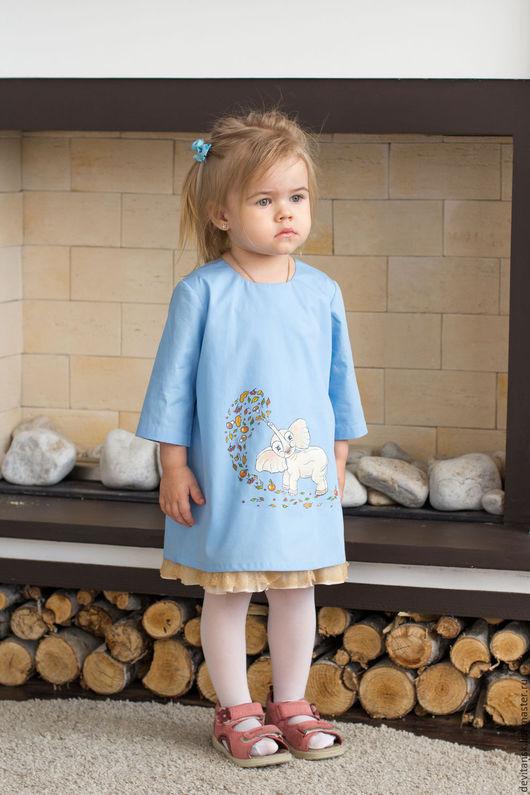 """Одежда для девочек, ручной работы. Ярмарка Мастеров - ручная работа. Купить Детское платье для девочки """"Слоник"""". Handmade. Голубой, для девочек"""