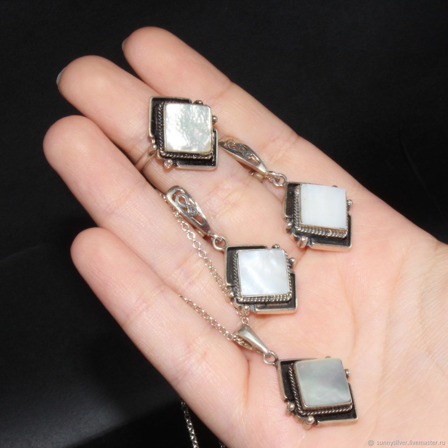 Peyton earrings and ring with mother of pearl in 925 sterling silver, Jewelry Sets, Yerevan,  Фото №1