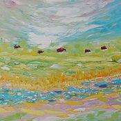 """Картины и панно ручной работы. Ярмарка Мастеров - ручная работа """"Деревенская весна"""" картина маслом мастихином пейзаж. Handmade."""