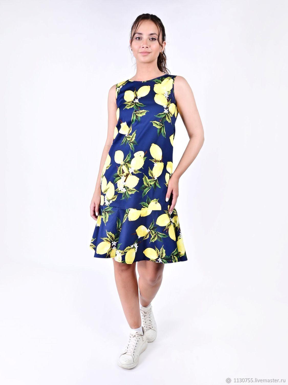 Платье  Лимоны на синем   р-ры 36- 60, Платья, Москва,  Фото №1