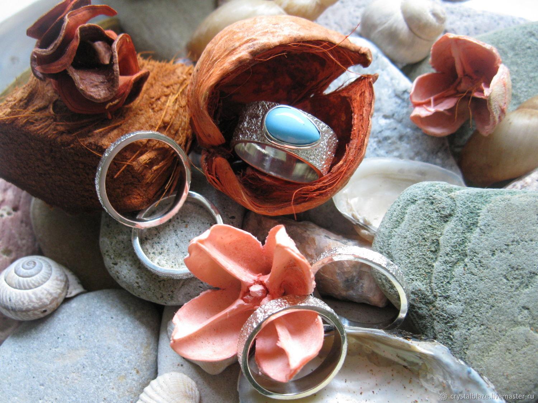 """Кольца ручной работы. Ярмарка Мастеров - ручная работа. Купить Кольцо """"texture"""" с бирюзой. Handmade. Кольцо с бирюзой, бирюза голубая"""